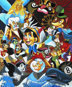 A colorful collage of all the characters in Pinocchio's storybook tale: Blue Fairy, Jiminy Cricket, Geppetto, Figaro, Cleo, Honest John...