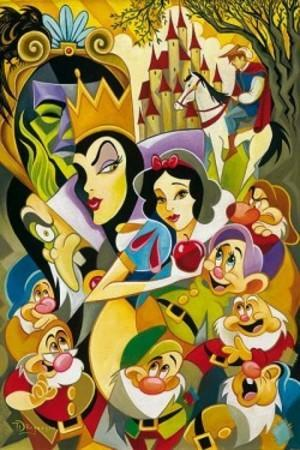 A colorful collage of all characters in Snow White life starting with Seven Dwarfs, Evil Queen, and Prince Charming