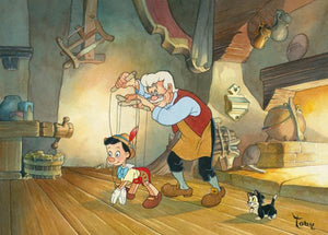 Geppetto dancing with wooden puppet Pinocchio