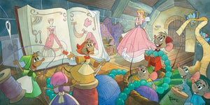 Cinderella's, household mice friends Jaq, and Gus helped design and sew up the Cinderella's beautiful pink gown.