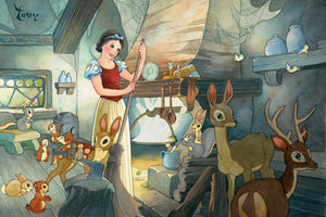 Snow White and her forest friends tidying up the cottage.
