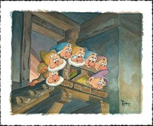 The Seven Dwarfs are watching Snow White from on top of the stairs.