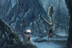 In the swamps of Dagobah, Yoda trains Luke as Artoo looks on.