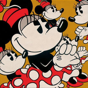 The many faces of Minnie Mouse in vintage style pot-a-dot red dress and hat