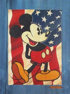 By Character_Mickey Mouse posing in front of the Red, White and Blue Flag,