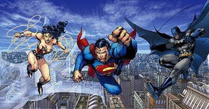Wonder Woman, Superman and Batman flying over Harlem City