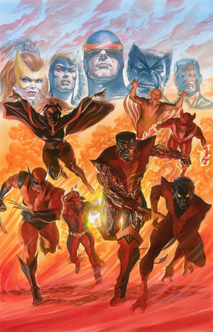 X-Men Tribute by Alex Ross.  Professor Xavier's mutants: Marvel Girl, Angel, Cyclops, Beast, Iceman, Storm, Banshee, Sunfire, Wolverine, Thunderbird, Colossus, and Nightcrawler.