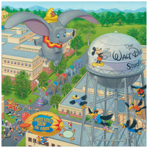 A Day at the Studio by Manuel Hernandez  The circus is in town, a trail of circus elephants parade through the streets of  Walt Disney's Studios, as Dumbo and Timothy watch from above, as they fly over the studio -closeup