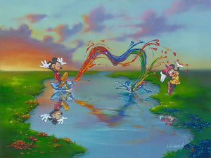 Mickey jumping on a tube of paint and squirts a colorfull blast of paint toward Minnie