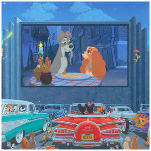 A Night at the Movies by Manuel Hernandez.  Mickey and Minnie at the Drive-in movie, watching a Lady and the Trap movie - closeup