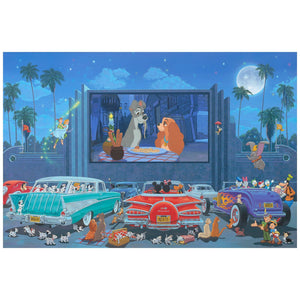 A Night at the Movies by Manuel Hernandez.  Mickey and Minnie at the Drive-in movie, watching a Lady and the Trap movie.