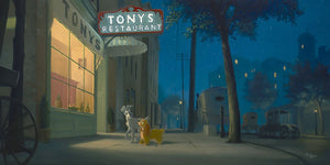 A Night with Lady by Rob Kaz.  Lady and Tramp spend the night wandering around the streets of the town, spotted in front of Tony's restaurant.