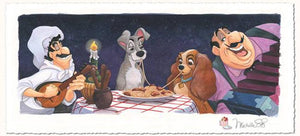 A perfect Italian style romantic dinner for Lady and the Tramp, with a musical serenade provided by Tony and his chef.