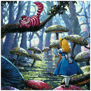 A Smile You Can Trust by Rodel Gonzalez.  Alice is being followed by the Cheshire cat as she wonders through the giant mushrooms trail in the woods of Wonderland- closeup.