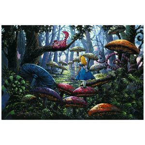 A Smile You Can Trust by Rodel Gonzalez.  Alice is being followed by the Cheshire cat as she wonders through the giant mushrooms trail in the woods of Wonderland.