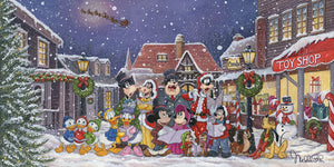 Mickey and Minnie are joined by the village's Christmas carolers in the village square on a snowy winter night.