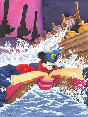 Mickey the Sorcerer needs to find a spell in his magic book to stop the rushing water.