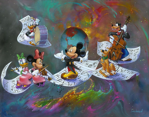 A Universe of Music by Jim Warren.  Maestro Mickey leads the Gang of Five through a colorful universe of music.