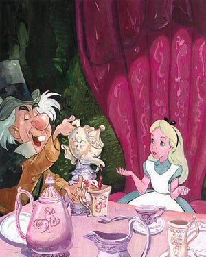 Alice is served tea by Wonderland's Mad Hatter.