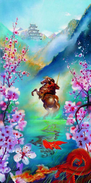 A Warrior's Reflection by John Rowe  Mulan, sees her reflection in the pond, as she rides her horse through the water.