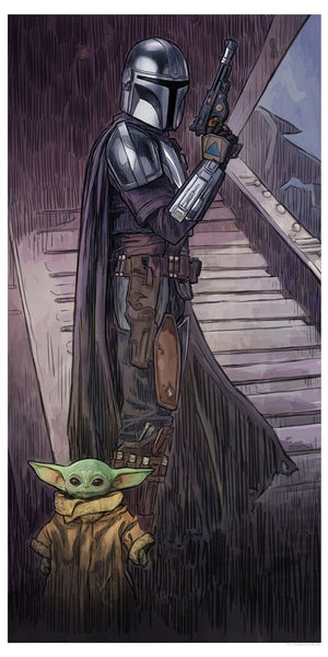 Mando and the Child Artwork inspired by Star Wars: The Mandalorian