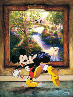 Minnie kissing Mickey in from of the portrait of Monet's Garden at Giverny.