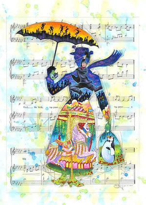 Mary Poppins holding her yellow umbrella, in from of the melody tune sheet.