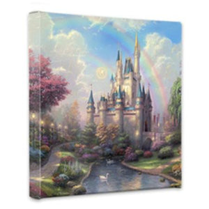 Cinderella Castle is an enchanting castle. A double rainbow arcs over the towering castle;