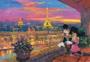 Mickey and Minnie on a balcony over seeing the view of Paris Eiffel tower, at sunset.