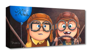 "Features young Carl and Ellie wearing pilot glasses, as they start the adventure of their lives. Artwork inspired by Pixar's beloved classic  movie ""UP"". - Gallery Wrap Canvas"