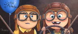 "Features young Carl and Ellie wearing pilot glasses, as they start the adventure of their lives. Artwork inspired by Pixar's beloved classic  movie ""UP""."