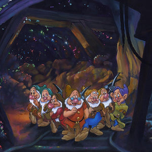 After a Hard Day's Work by Jim Warren  The Seven Dwarfs are happy to call it a day, except for one Grumpy! - Closeup