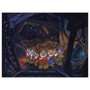 After a Hard Day's Work by Jim Warren  The Seven Dwarfs are happy to call it a day, except for one Grumpy!