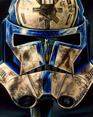 Helmet of a trooper, showing the reflection of Ahoska. - Canvas