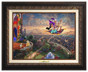 Aladdin and Jasmine fly away on the magic carpet, the Sultan and Rajah watch from the castle's balcony - Aged Bronze Frame
