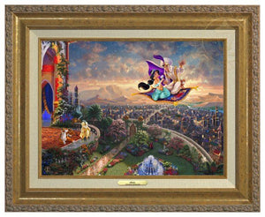Aladdin by Thomas Kinkade.  Aladdin and Jasmine fly away on the magic carpet, the Sultan and Rajah watch from the castle's balcony - Antique Gold Frame