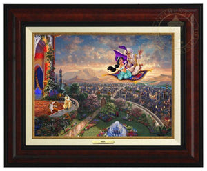 Aladdin and Jasmine fly away on the magic carpet, the Sultan and Rajah watch from the castle's balcony - Burl Frame