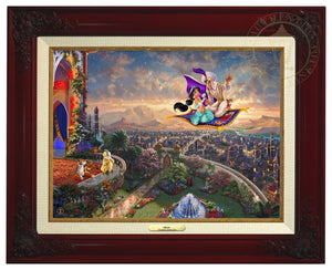 Aladdin and Jasmine fly away on the magic carpet, the Sultan and Rajah watch from the castle's balcony - Brandy Frame