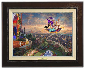Aladdin by Thomas Kinkade.  Aladdin and Jasmine fly away on the magic carpet, the Sultan and Rajah watch from the castle's balcony - Espresso Frame