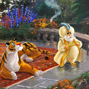 The Sultan and of Agrabah (her father) and her overprotective pet tiger Rajah watch - closeup.