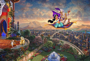 Aladdin and Jasmine soar above Agrabah and the neighboring kingdom on a magic carpet ride - unframed,