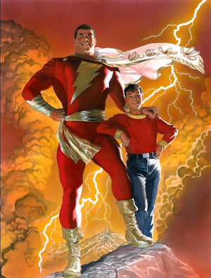 This dynamic illustration by Alex Ross features both Billy Batson and SHAZAM. With the shout of the mystical word SHAZAM, young Bill Batson transforms from boy to Superhero and becomes The World's Mightiest Mortal!