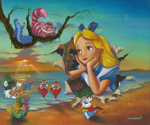 Alice's Grand Entrance by Jim Warren.  Alice's dashes out of an ocean scene canvas painting, to meet her friends from Wonderland.