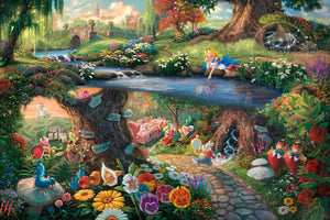 Alice in Wonderland captures all characters, in this beautiful colorful landscape. The hurried White Rabbit, the enigmatic Caterpillar, the lunatic Mad Hatter, the nonsensical Tweedledee, and Tweedledum all play a part in the world down the hole. Alice, viewing it all with a child's innocence - unframed