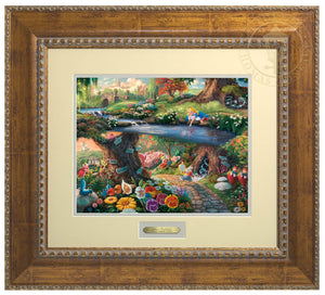 Alice In Wonderland by Thomas Kinkade Studios.  Alice's imagination wonders as she looks into the water, sees her reflection and much more, the hurried White Rabbit, the enigmatic Caterpillar, the lunatic Mad Hatter, the nonsensical Tweedledee, and Tweedledum all play a part in the world down the hole - Antiqued Gold Frame