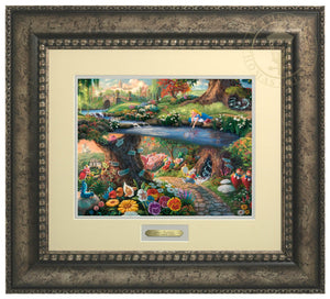 Alice In Wonderland by Thomas Kinkade Studios.  Alice's imagination wonders as she looks into the water, sees her reflection and much more, the hurried White Rabbit, the enigmatic Caterpillar, the lunatic Mad Hatter, the nonsensical Tweedledee, and Tweedledum all play a part in the world down the hole - Antiqued Silver Frame