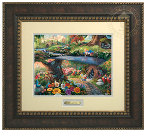 Alice In Wonderland by Thomas Kinkade Studios.  Alice's imagination wonders as she looks into the water, sees her reflection and much more, the hurried White Rabbit, the enigmatic Caterpillar, the lunatic Mad Hatter, the nonsensical Tweedledee, and Tweedledum all play a part in the world down the hole - Bronzed Gold Frame