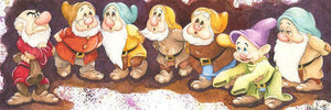 Features a lineup of Snow White's  Seven Dwarfs.