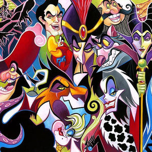 All Their Wicked Ways by Tim Rogerson features Disney beloved villains, featuring Maleficent, Captain Hook, Jafar, Shere Khan, Scar - Closeup 2,