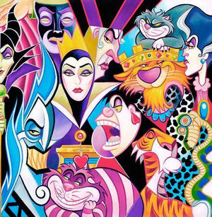 All Their Wicked Ways by Tim Rogerson features Disney beloved villains, featuring Maleficent, Cruella de Ville, Red Queen, Evil Queen- Closeup